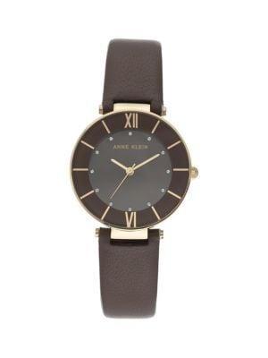 Anne Klein Goldtone Stainless Steel, Swarovski Crystal & Leather-strap Watch