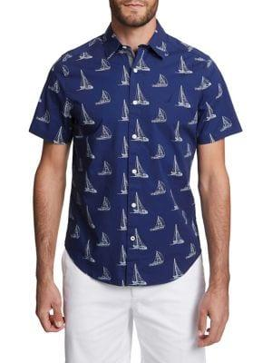 Nautica Classic-fit Sailboat-print Button-down Shirt