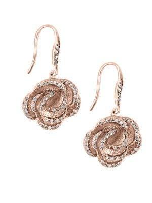 Effy Floral Diamond 14k Rose Gold Earrings