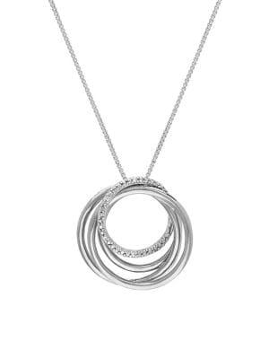 Lord & Taylor Sterling Silver & Diamond Orbital Pendant Necklace
