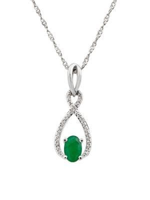Lord & Taylor Sterling Silver Emerald & Diamond Pendant Necklace