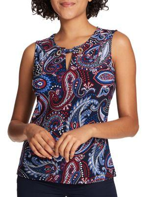 Tommy Hilfiger Sleeveless Dotted Paisley Grommet Top