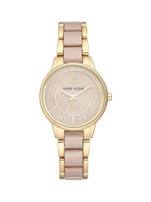 Anne Klein Goldtone Stainless Steel, Ceramic & Swarovski Crystal Watch