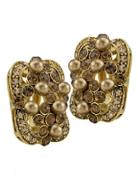 Carolee Gold Crystal And Pearl Earrings