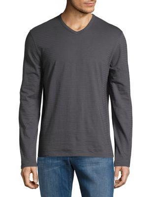 Black Brown Cotton V-neck Top