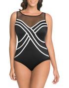Longitude Two-tone Mesh One-piece Swimsuit