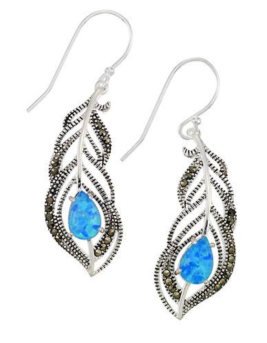 Lord & Taylor Sterling Silver And Faux Opal Feather Drop Earrings