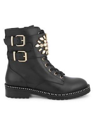 Kurt Geiger London Stoop Embellished Leather Combat Boots