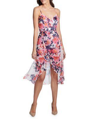 Kensie Dresses Floral Ruffle Trim Dress
