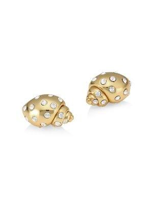 Kate Spade New York Under The Sea Goldplated And Pave Crystal Shell Studs