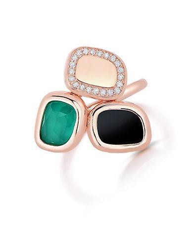 Roberto Coin Black Jade, Diamond And 18k Rose Gold Ring