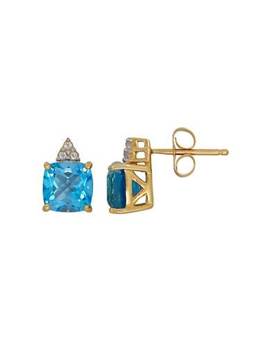 Lord & Taylor Topaz And 14k Yellow Gold Stud Earring