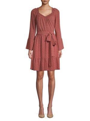 Michael Michael Kors Ruffle Hem Printed Belted Dress