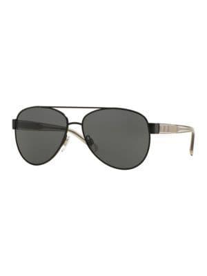 Burberry 57mm Matte Aviator Sunglasses