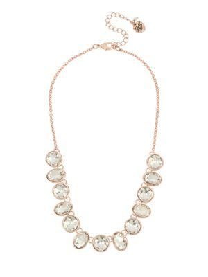 Betsey Johnson White Flowers Crystal Frontal Necklace
