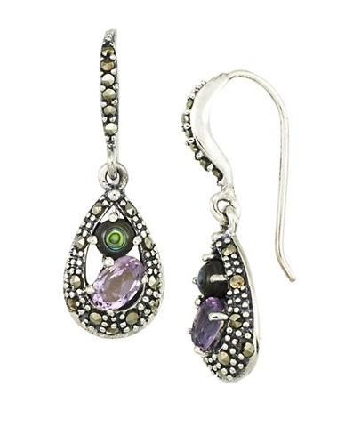 Lord & Taylor Amethyst And Abalone Sterling Silver Teardrop Earrings