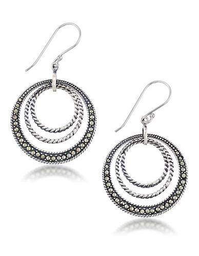 Lord & Taylor Marcasite And Sterling Silver Braided Circle Earrings