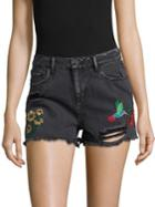 Design Lab Embroidered Denim Cut-off Shorts