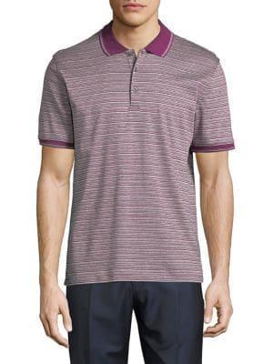 Black Brown Striped Short-sleeve Polo Shirt