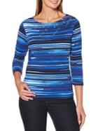 Rafaella Striped Roundneck Cotton Top