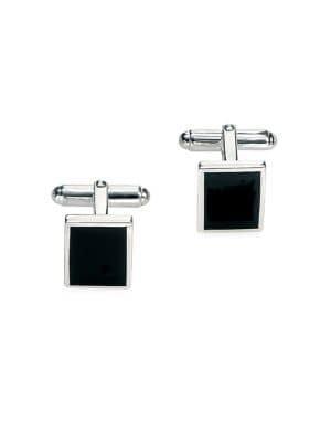 Fred Bennett Stainless Steel & Black Agate Rectangular Cufflinks
