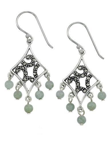 Lord & Taylor Marcasite And Jade Chandelier Earrings