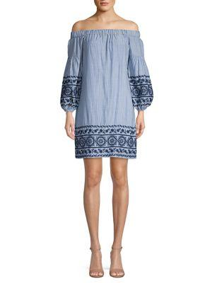 Vince Camuto Embroidered Off-the-shoulder Cotton Dress