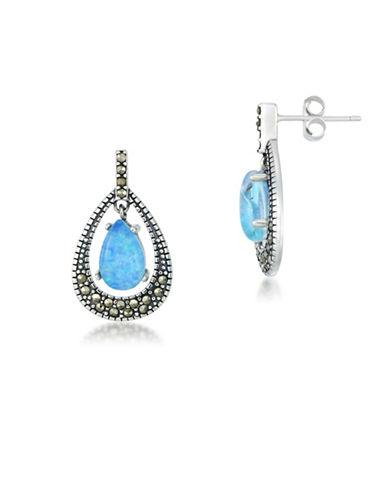 Lord & Taylor Opal And Sterling Silver Teardrop Earrings