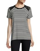 Karl Lagerfeld Paris Embroidered Striped Top