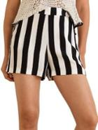 Mango Striped Flowy Shorts