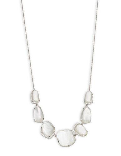 Nadri Sterling Silver And Mother Of Pearl Doublet Pendant Necklace
