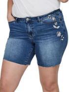 Junarose Plus Embroidered Floral Denim Shorts