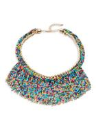 Design Lab Lord & Taylor Beaded Fringe Statement Necklace