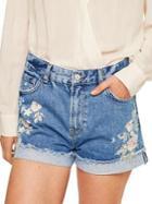 Mango Rose Embroidered Denim Shorts