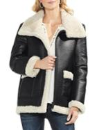 Vince Camuto Faux Leather Faux Shearling Moto Jacket