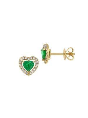 Sonatina 14k Yellow Gold, Emerald & Diamond Heart Halo Stud Earrings