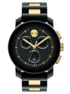 Movado Bold Ceramic & Goldtone Ip Stainless Steel Chronograph Watch/black