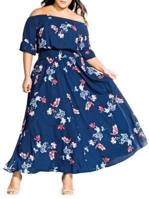 City Chic Plus Off-the-shoulder Lotus Love Maxi Dress