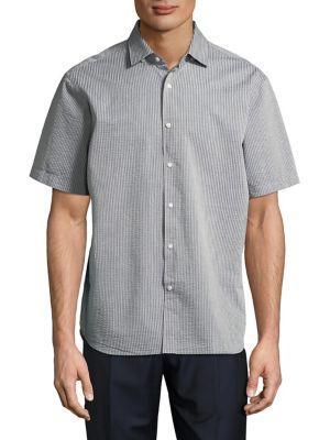 Black Brown Seersucker Short-sleeve Button-down Shirt