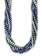 Effy Sterling Silver Dark Multi-colored Twisted Pearl Necklace