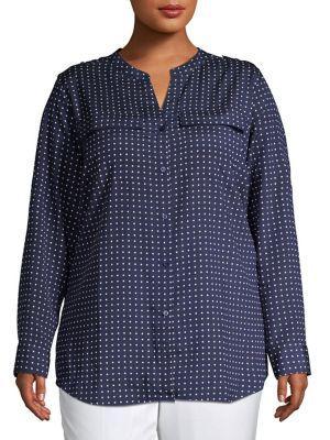 Calvin Klein Plus Plus Plus Printed Long-sleeve Top