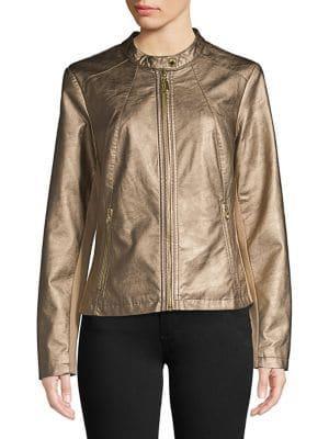 Ivanka Trump Faux-leather Zip-up Jacket