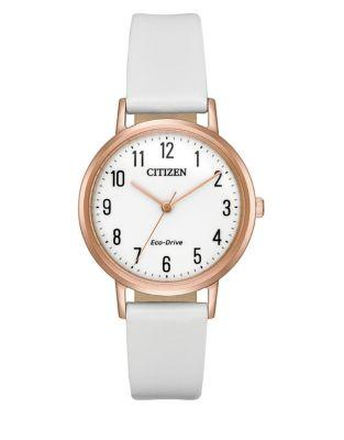Citizen Eco-drive Goldtone Stainless Steel Leather-strap Watch
