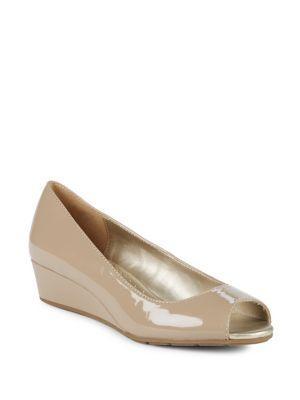 Bandolino Candra Patent Peep-toe Wedges