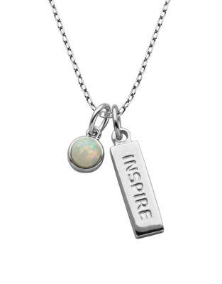 Lord & Taylor Sterling Silver Inspire Pendant Necklace
