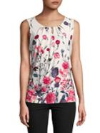 Ivanka Trump Sleeveless Floral Blouse