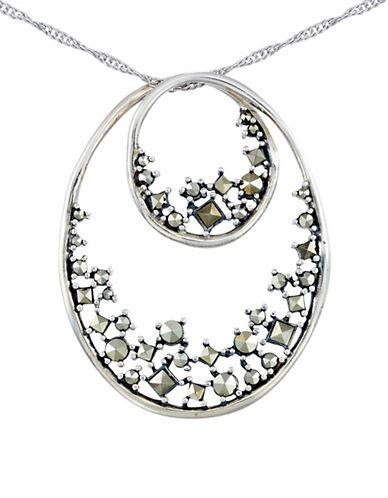 Lord & Taylor Marcasite Double Oval Pendant Necklace