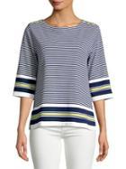 Joan Vass Striped Quarter-sleeve Cotton Top