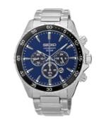 Seiko Solar Chronograph Stainless Steel Bracelet Strap Watch
