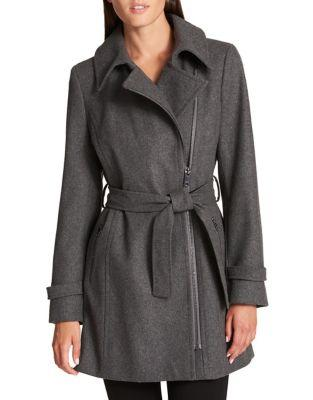 Donna Karan Asymmetrical Zip Coat